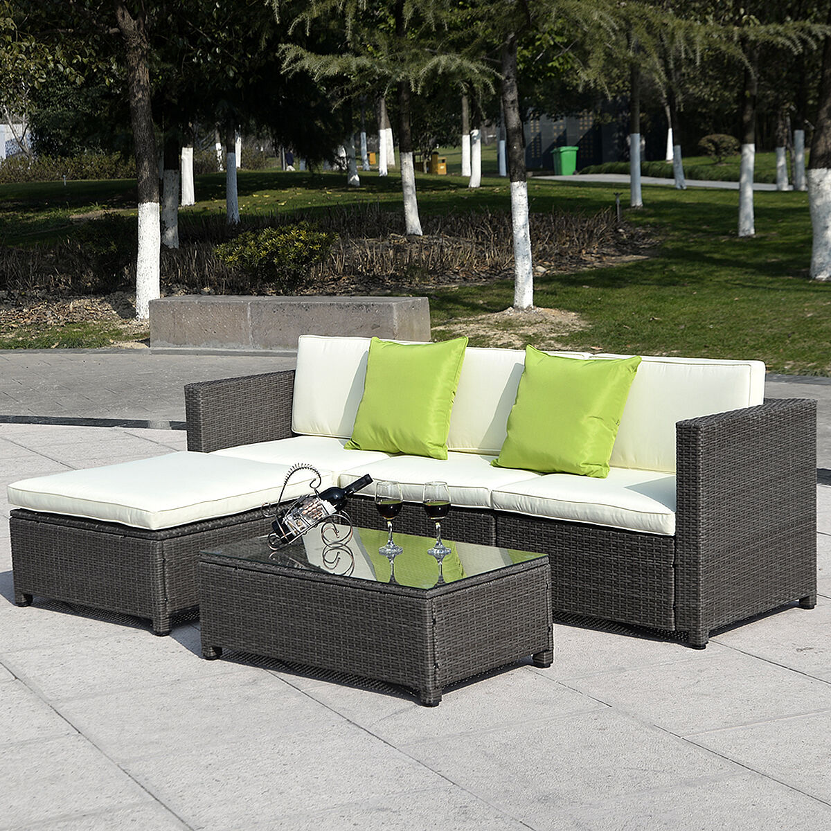 Rattan Sofa Costway Outdoor Patio 5pc Furniture Sectional Pe Wicker Rattan Sofa Set Deck Couch Black Brown