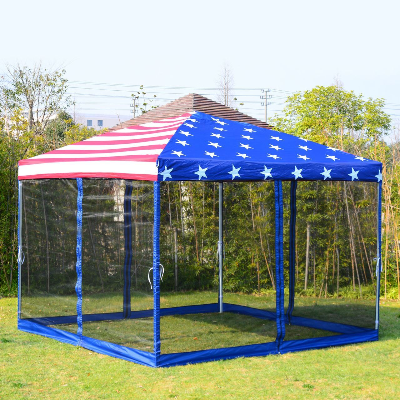 Pop Up Canopy Outdoor 10 X 10 Pop Up Canopy Tent With Mesh Walls American Flag