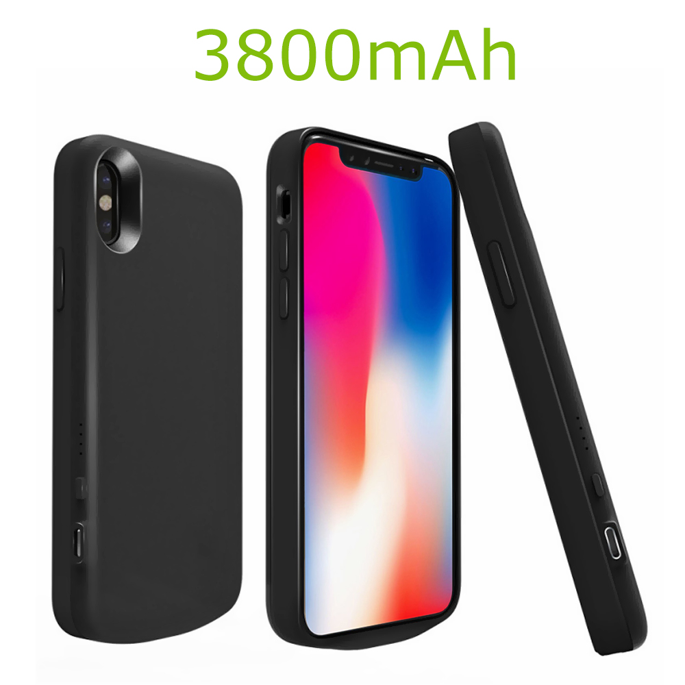 Battery Case For Iphone X Iphone X Battery Case 3800mah Rechargeable Portable External Battery Charger Pack Extend Power Bank Backup Charging Protective Case Cover Shell For