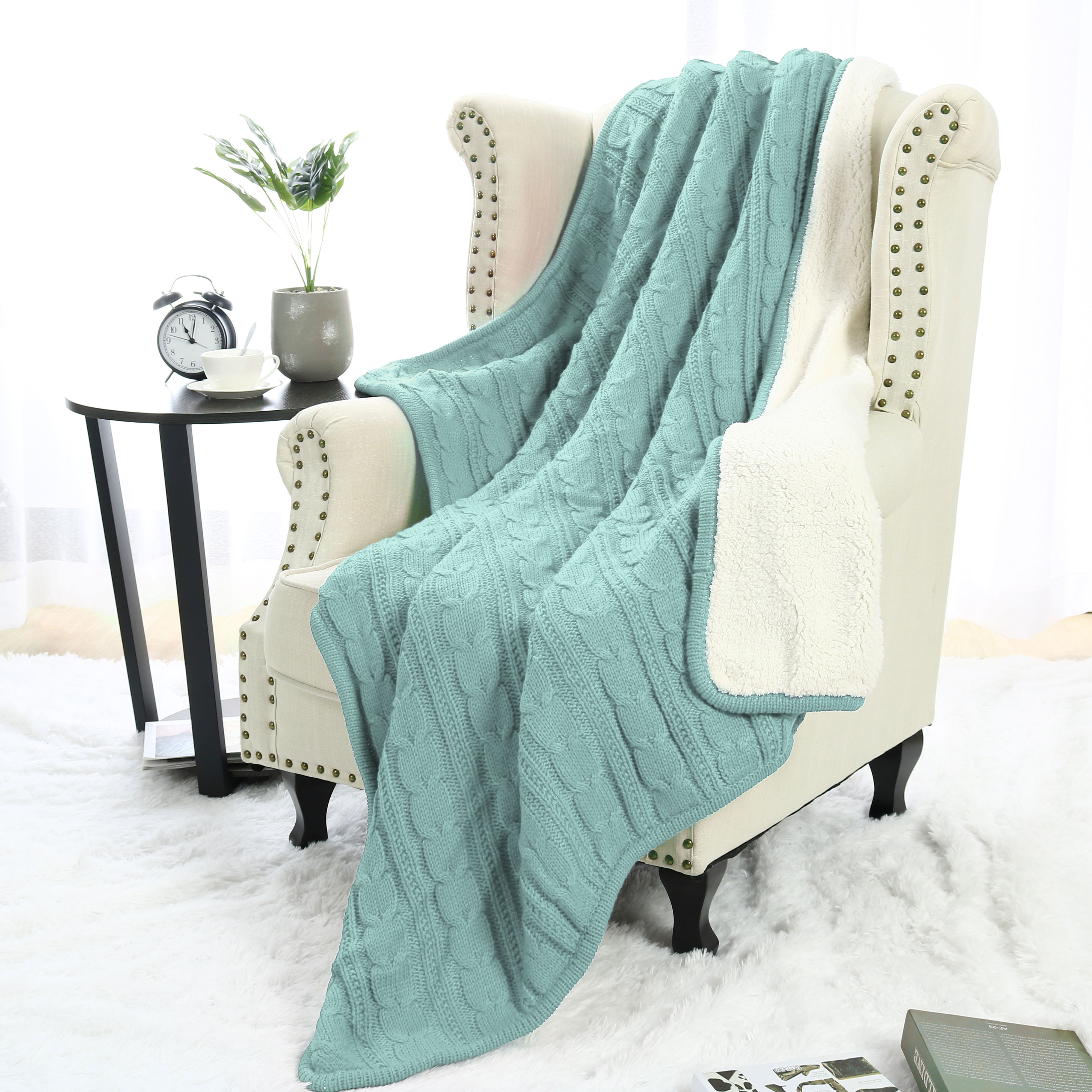 Sofa Throws Knitted Super Soft Warm Sofa Couch Bed Cable Knit Reversible Throw Blanket Khaki