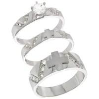Sterling Silver Cubic Zirconia Trio Engagement Wedding