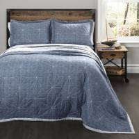 Aiden Bedding Quilt Set, Denim
