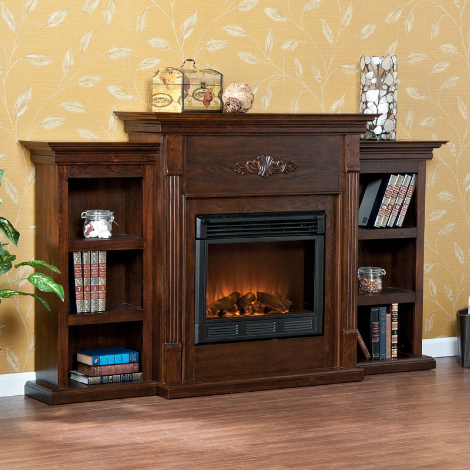 Tennyson Bookcase Electric Fireplace Southern Enterprises Tennyson Espresso Electric Fireplace With Bookcases