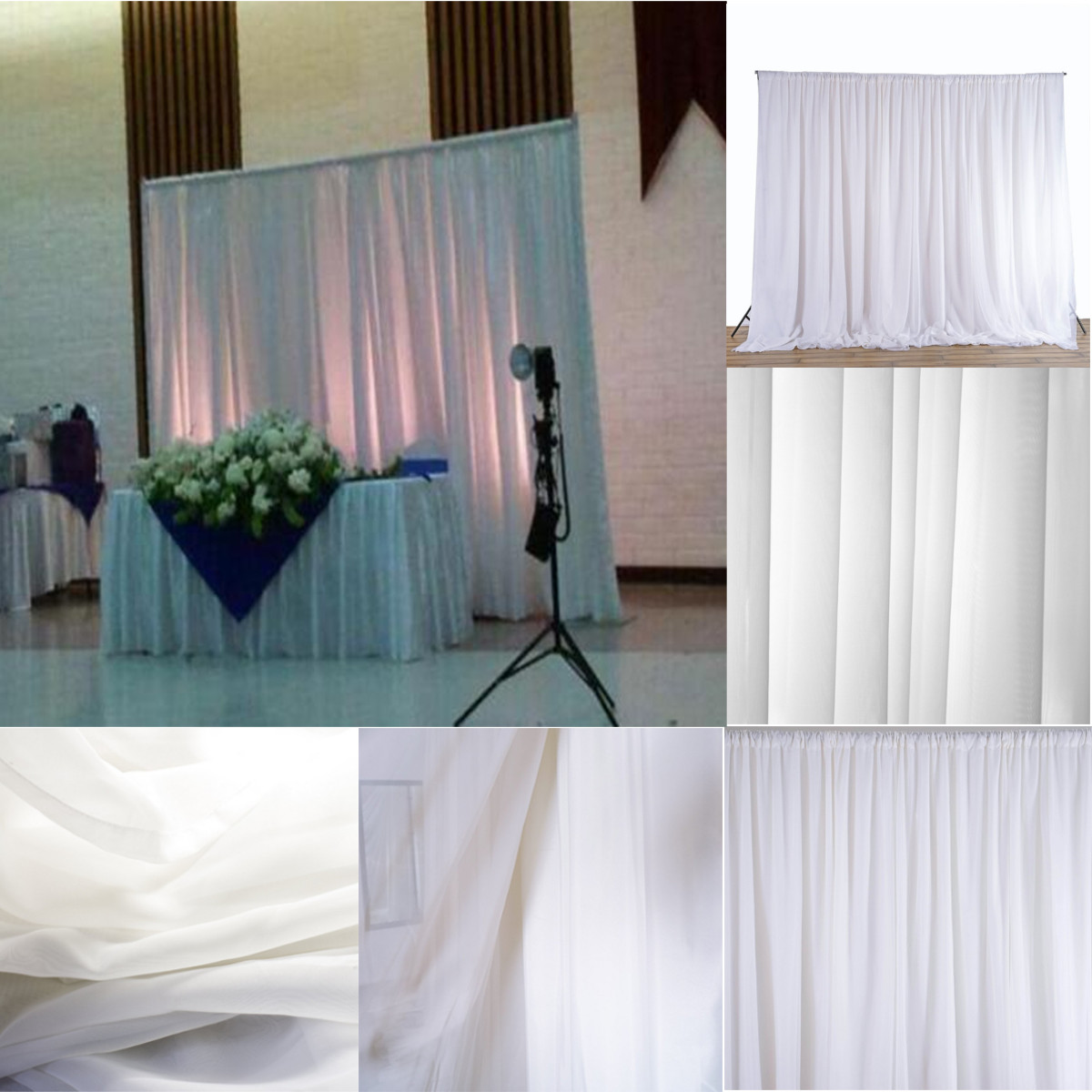 Draping Curtains Hot Sale 7 9ftx4 9ft White Wedding Party Backdrop Curtain Drapes Background Decor Studio Draping