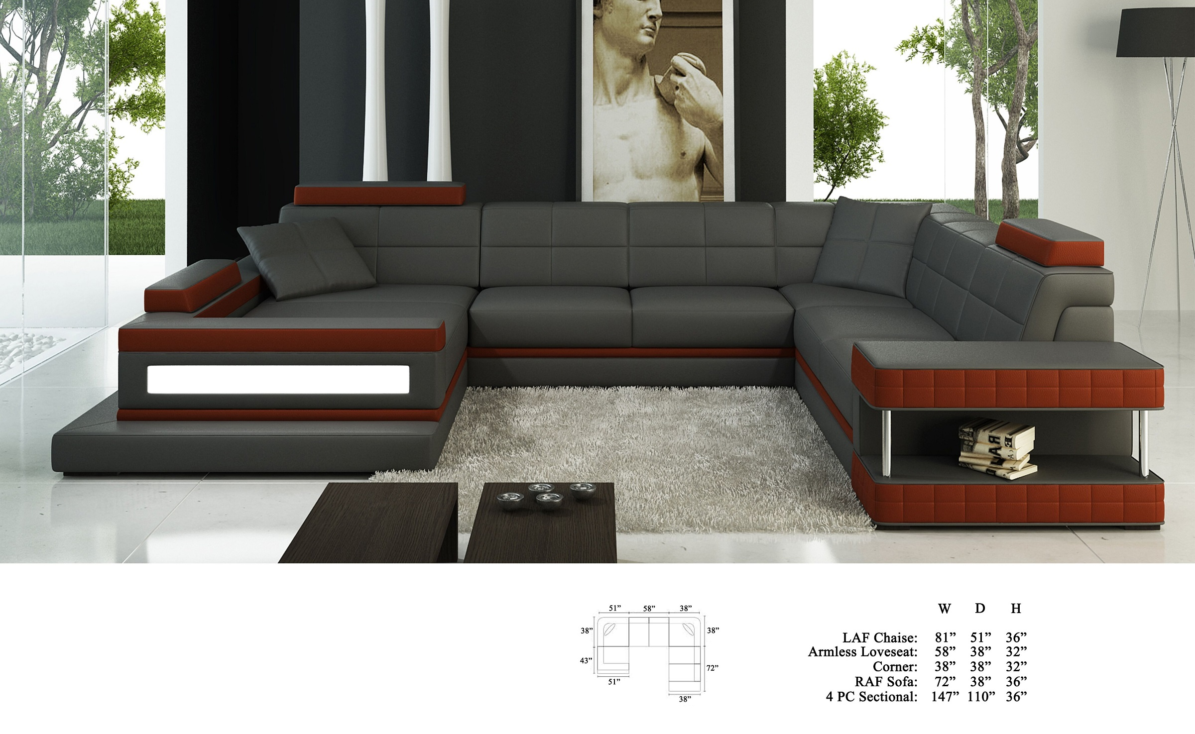 Living Room Furniture Modern Classic Large Sectional Sofa Family Relax Couch Maroon Grey Bonded Leather Chaise Loveseat Corner Couch Walmart Com Walmart Com