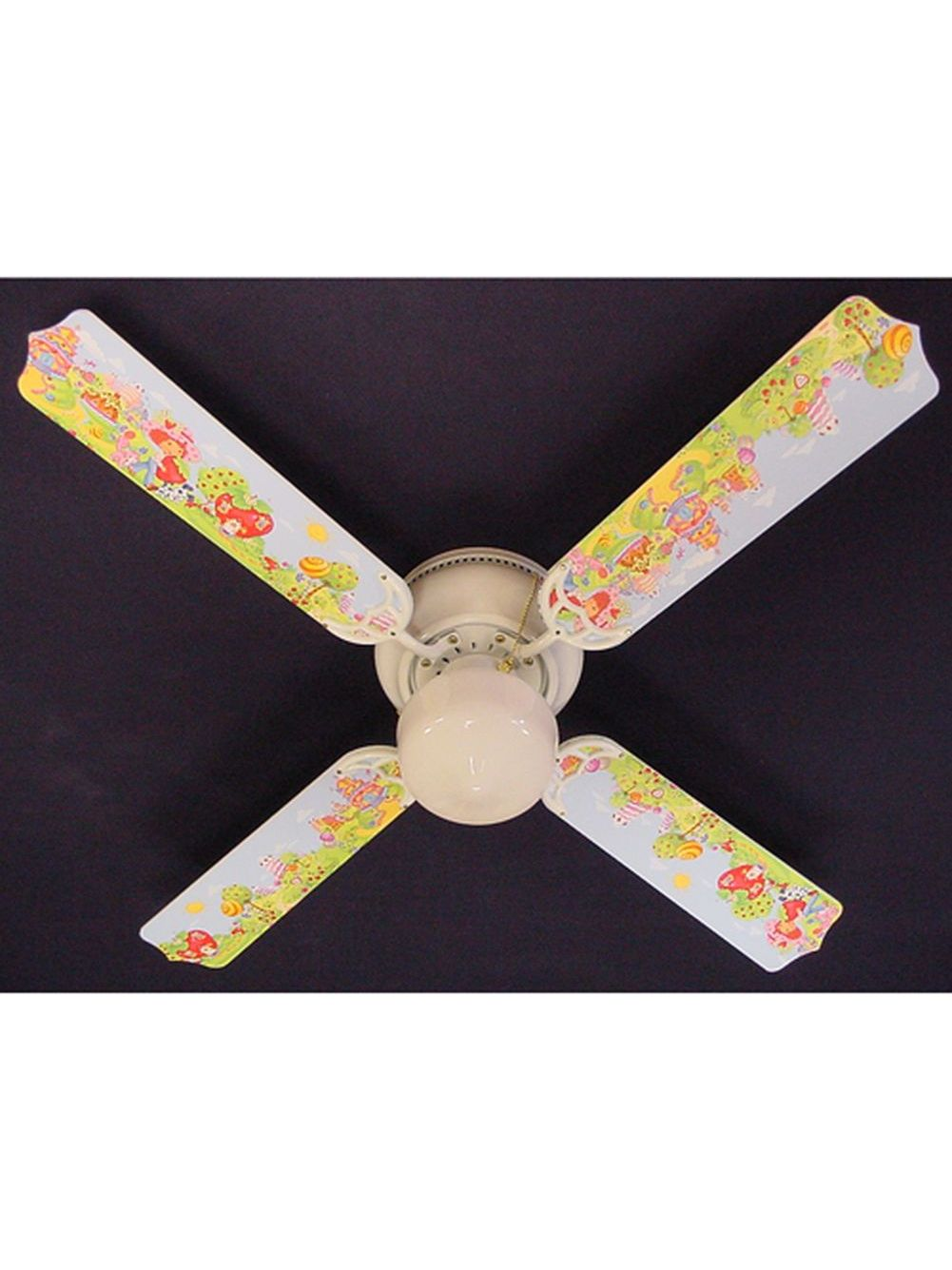 Ceiling Fan Girls Room Girls Strawberry Shortcake Print Blades 42in Ceiling Fan Light Kit