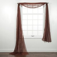 1 PC SOLID BROWN SCARF VALANCE SOFT SHEER VOILE WINDOW ...