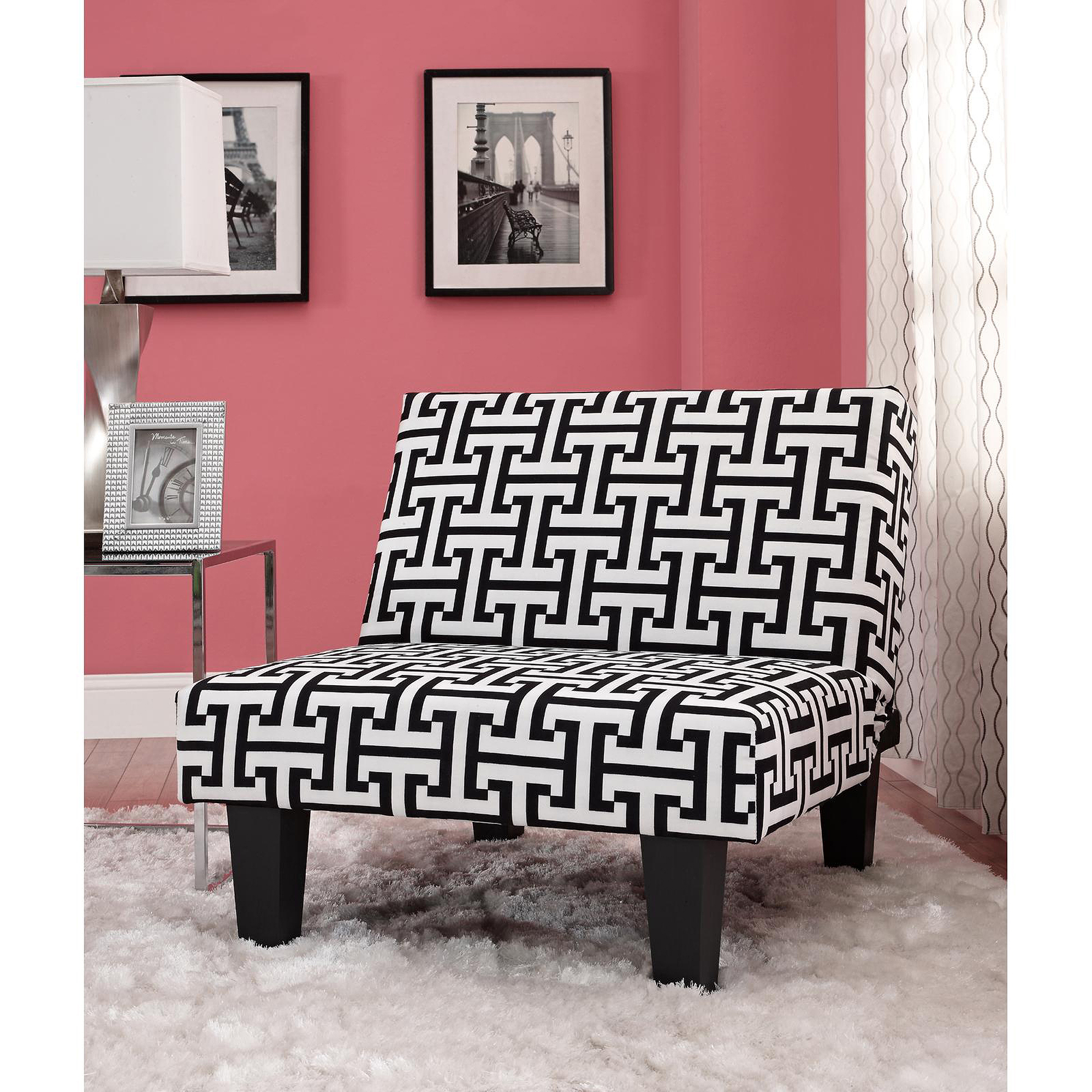 Black And White Accent Chair Details About Kebo Chair Black And White Geometric Pattern With Dark Leg