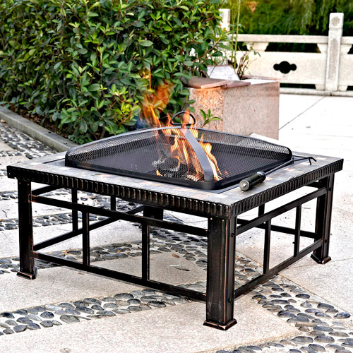 "Hudson 30"" Square Slate Fire Pit Table"