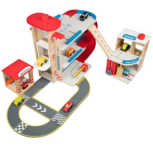 Wooden Toy Car Garage Playset For Toddlers W Car Wash