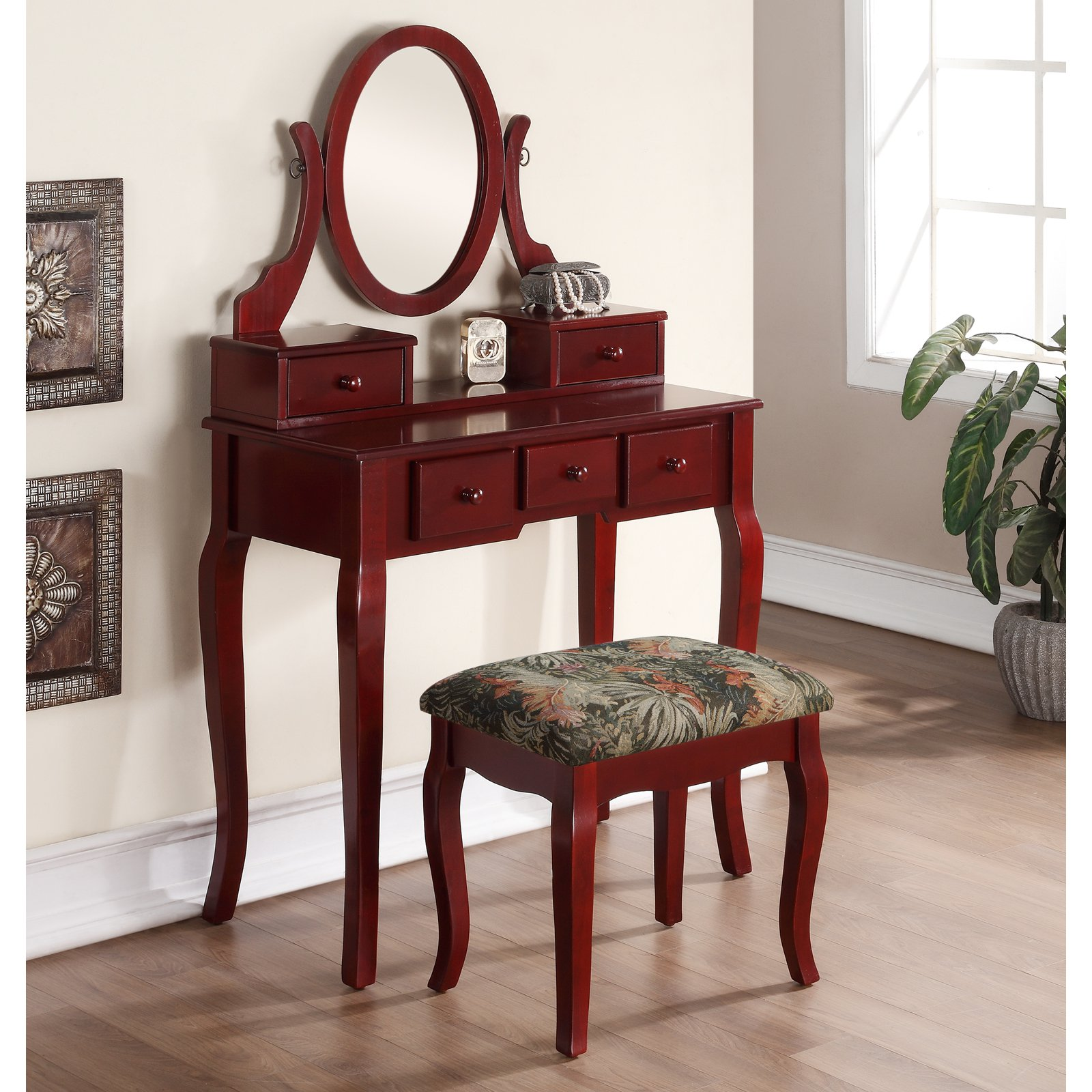 Vanity Table And Stool Set Roundhill Ashley Wood Make Up Vanity Table And Stool Set
