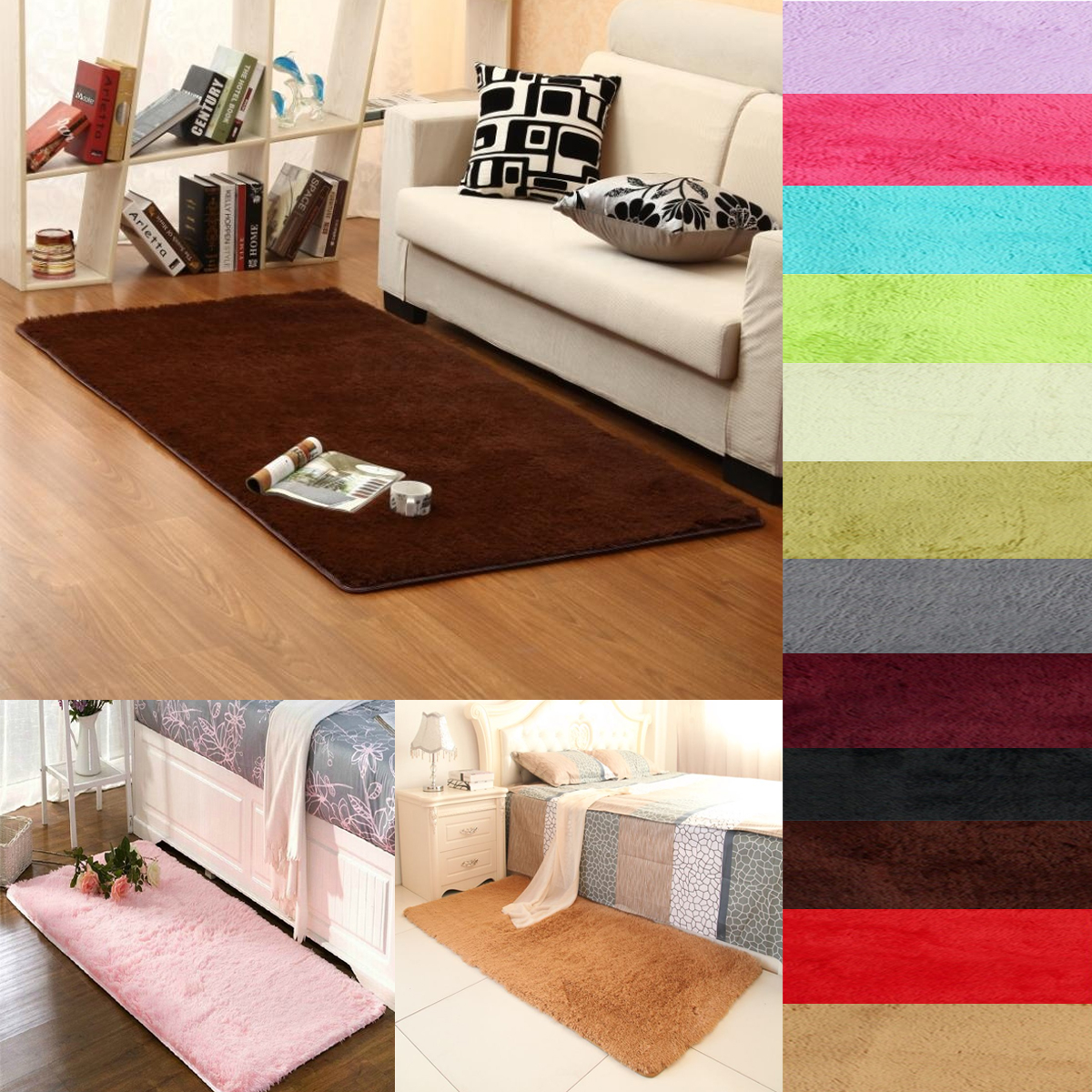 Dining Room Carpet 23 62x47 2 13 Colors Fluffy Rectangle Floor Rug Anti Skid Shaggy Area Rug Dining Room Carpet Yoga Bedroom Floor Mat Cover Child Play Mat Parlor