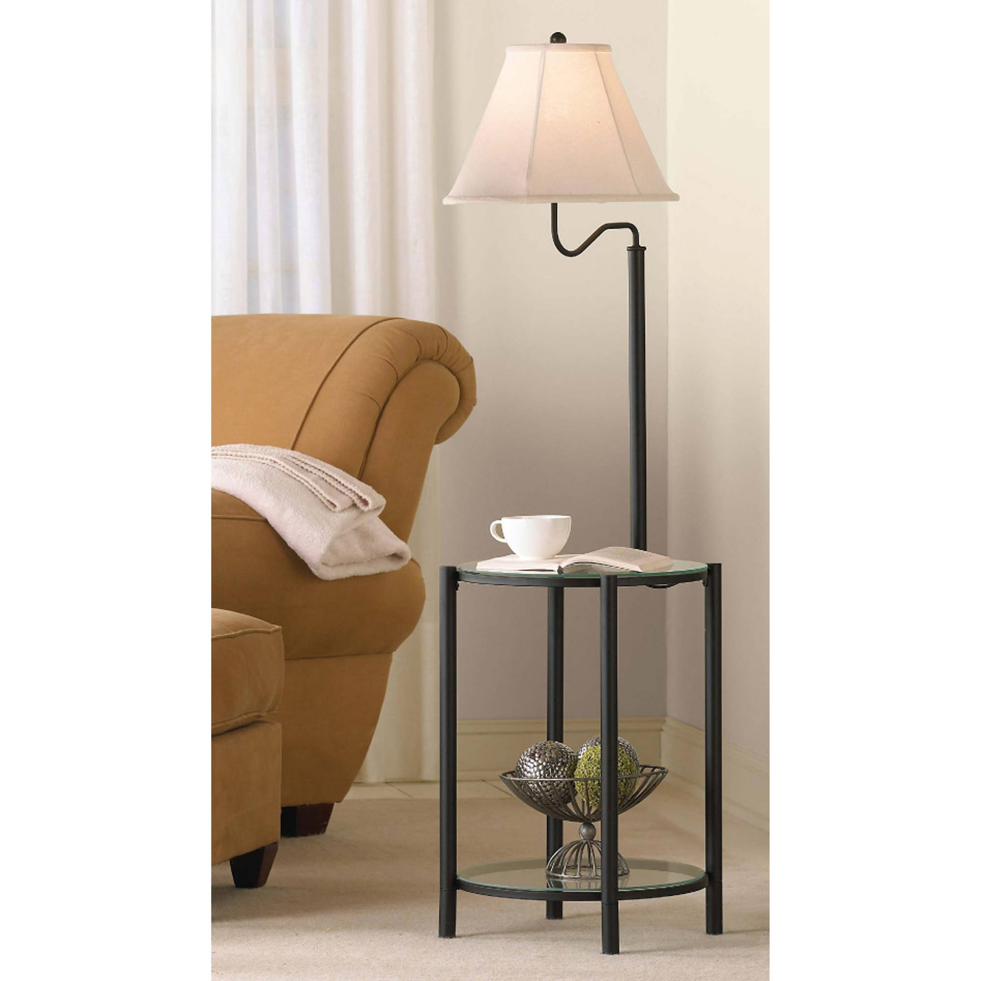 End Table With Lamp Built In Mainstays Glass End Table Floor Lamp Matte Black Cfl Bulb Included