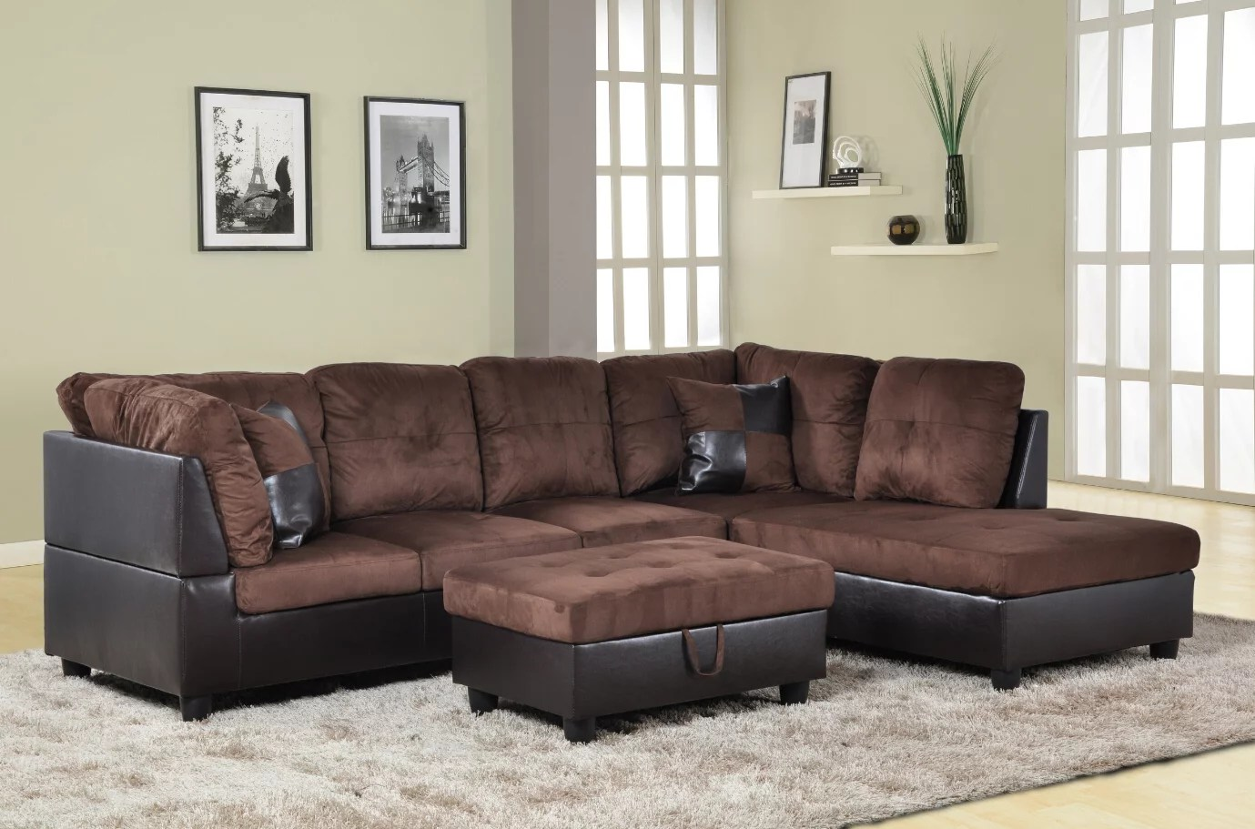 Microfiber Sectional Sofa For U Furnishing Charming Chocolate Microfiber Sectional Sofa Right Facing Chaise 74 5
