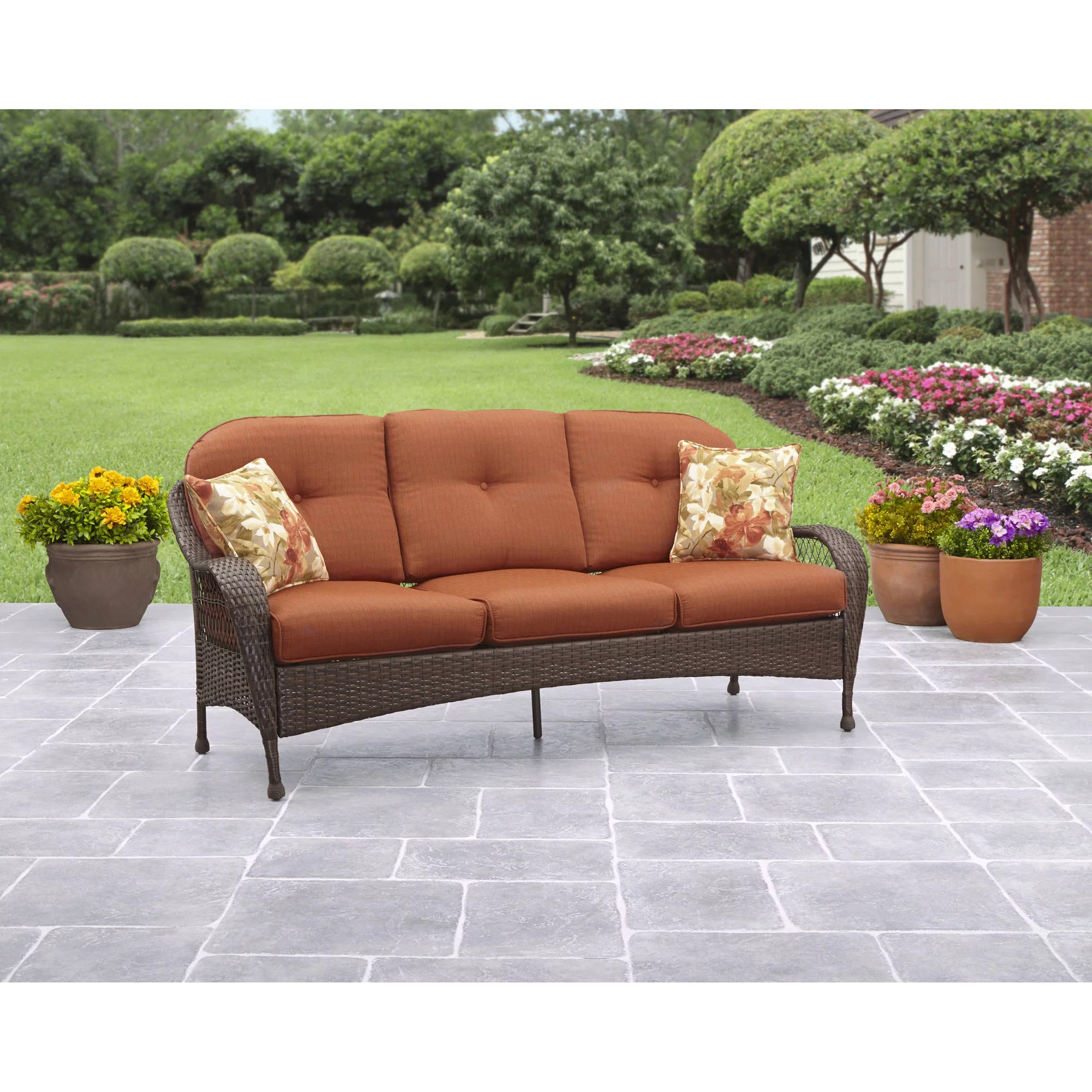 Outdoor Couch Better Homes And Gardens Azalea Ridge Outdoor Sofa Seats 3