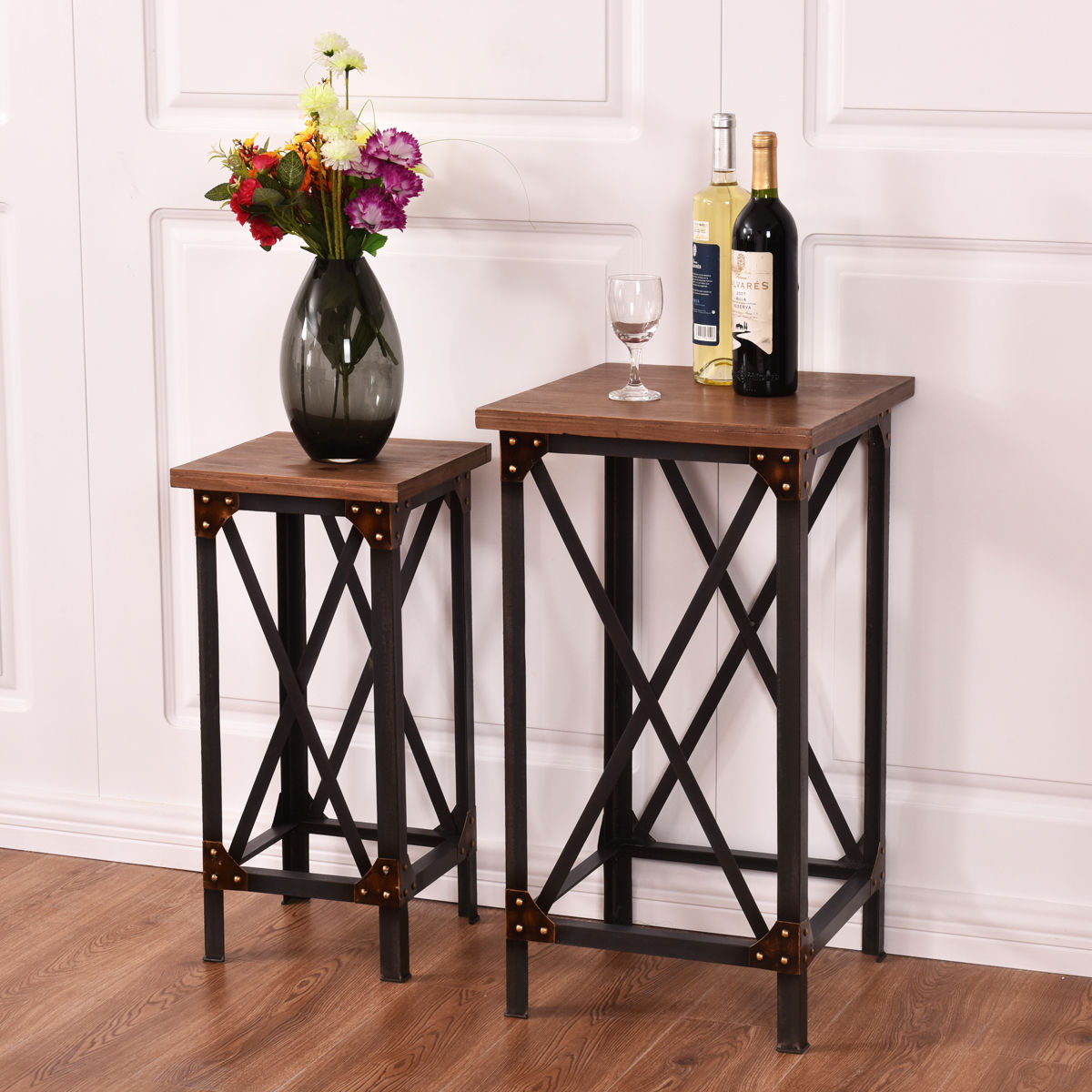 Iron Side Tables For Living Room Ghp Set Of 2 Iron And Chinese Fir Durable Retro Style Living