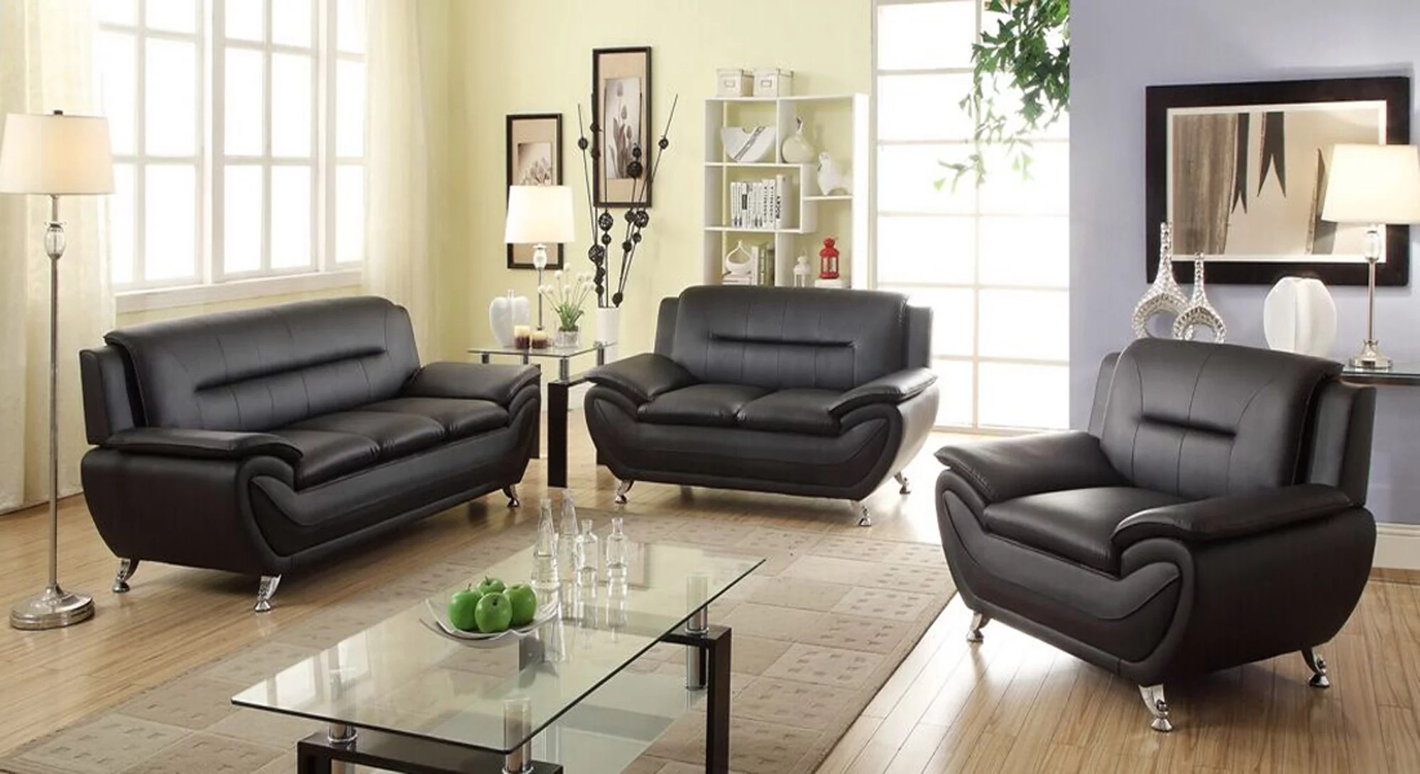Sofa Sets In Living Room Norton 3 Pc Black Faux Leather Modern Living Room Sofa Set