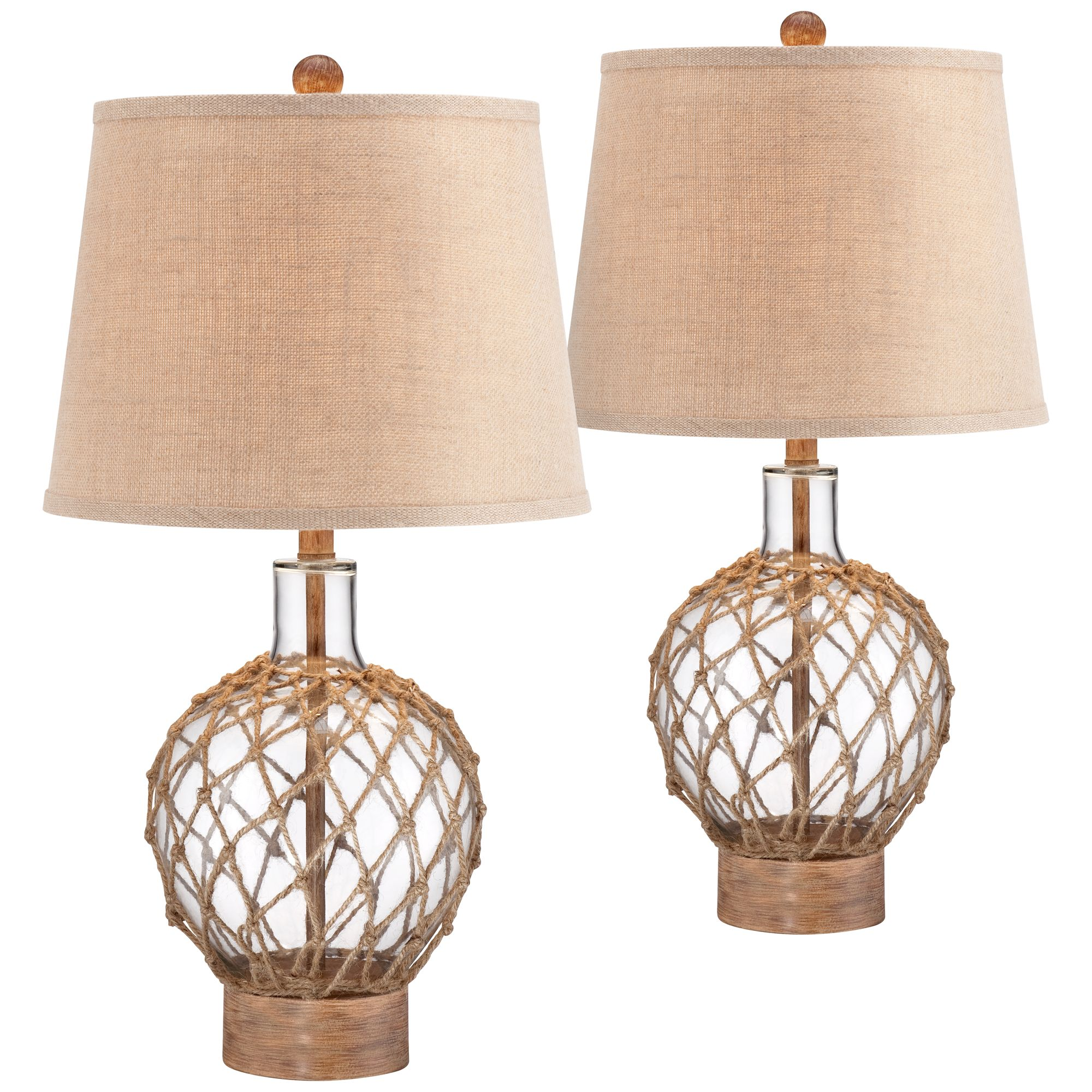Coastal Lamps 360 Lighting Coastal Table Lamps Set Of 2 Rope And Clear Glass Jug Burlap Drum Shade For Living Room Family Bedroom Nightstand