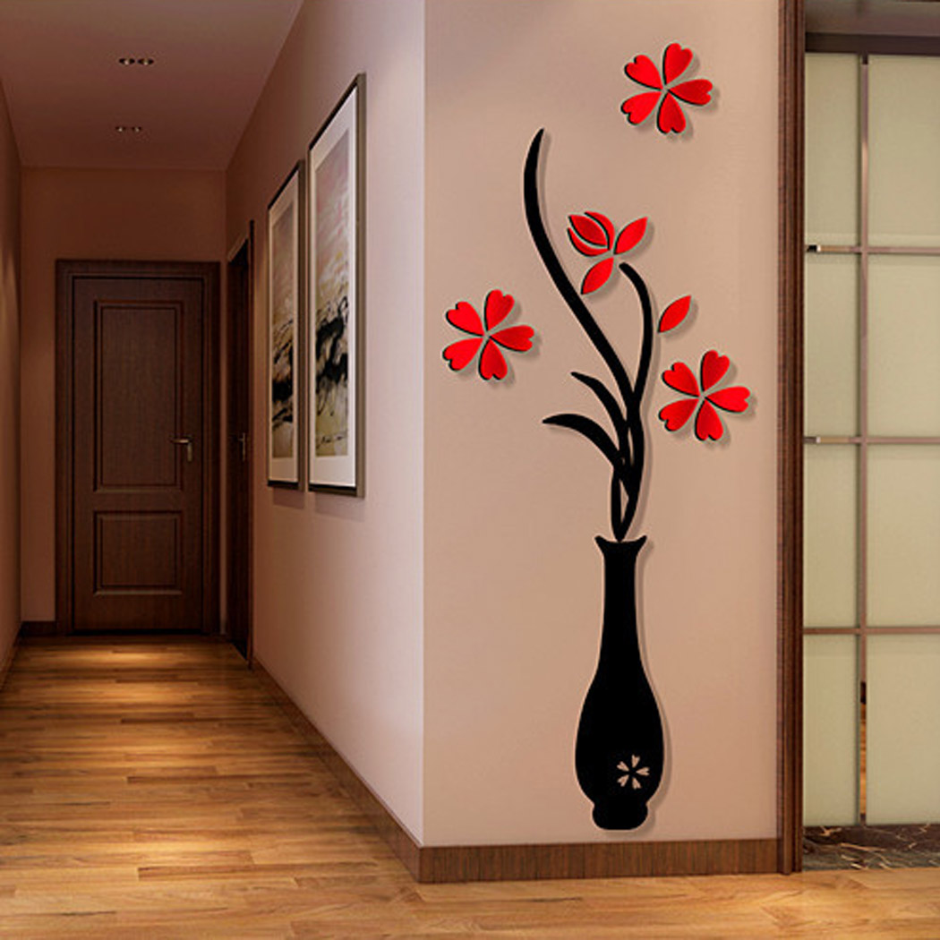 3d Wall Decor 3d Wall Sticker Decals Outgeek Removable Flowering Plant Wall Stickers Art Wall Decor For Living Room Bedroom Bathroom Restaurant Girls Kids