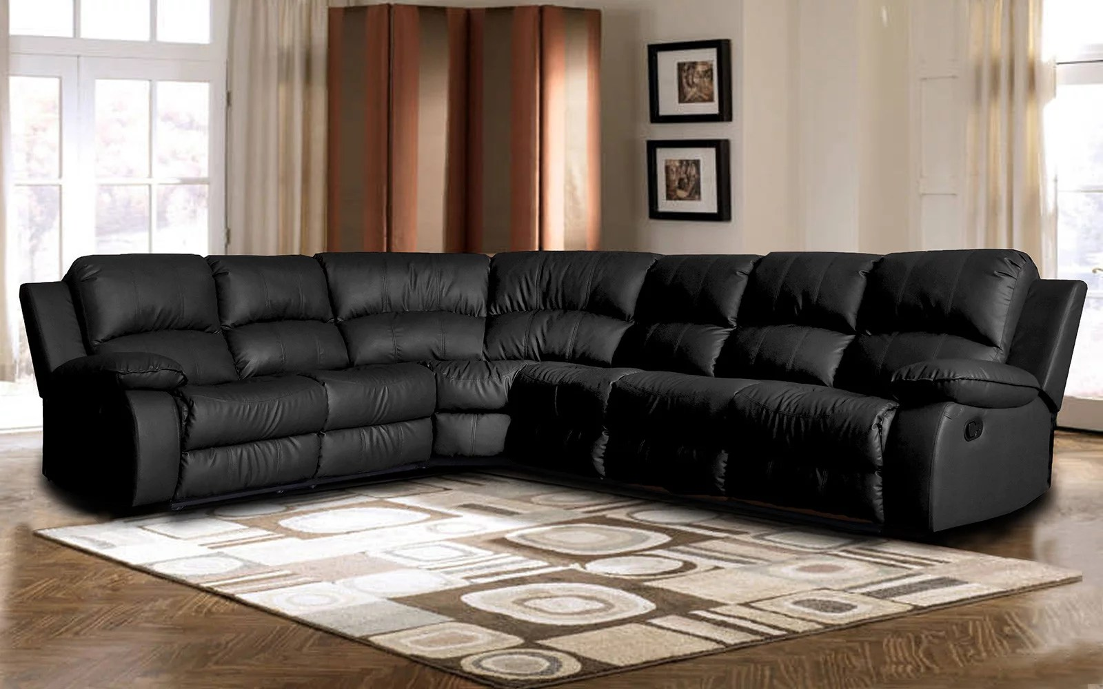 Leather Sectional Sofa Recliner Classic Oversize And Overstuffed Corner Bonded Leather Sectional With 2 Reclining Seats