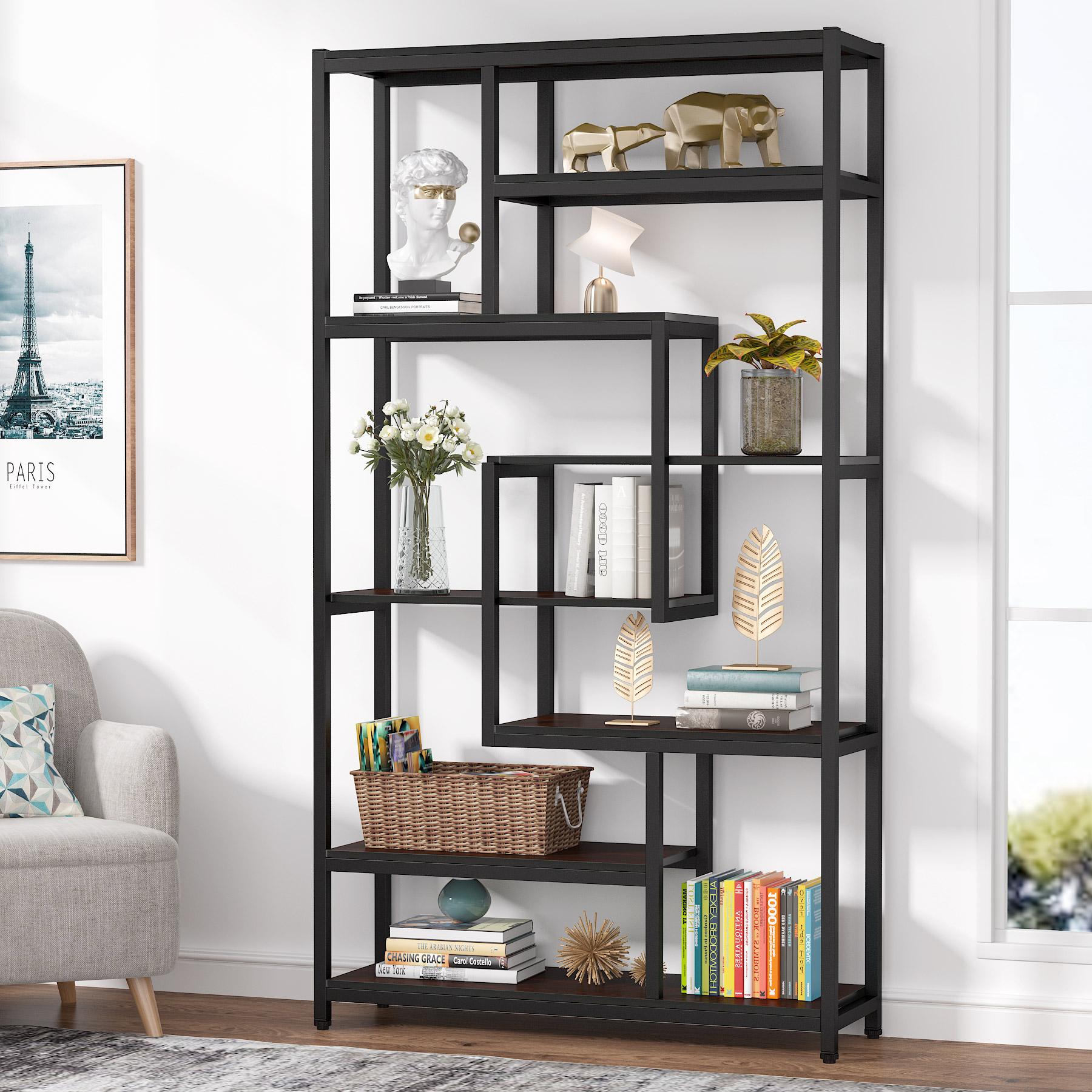 Tribesigns 8 Tier Open Bookcase Modern Etagere Bookshelf Display Shelf Storage Shelving Unit Freestanding Multifunctional Decorative Rack For Home Office Walmart Com Walmart Com - Etageres Decoratives