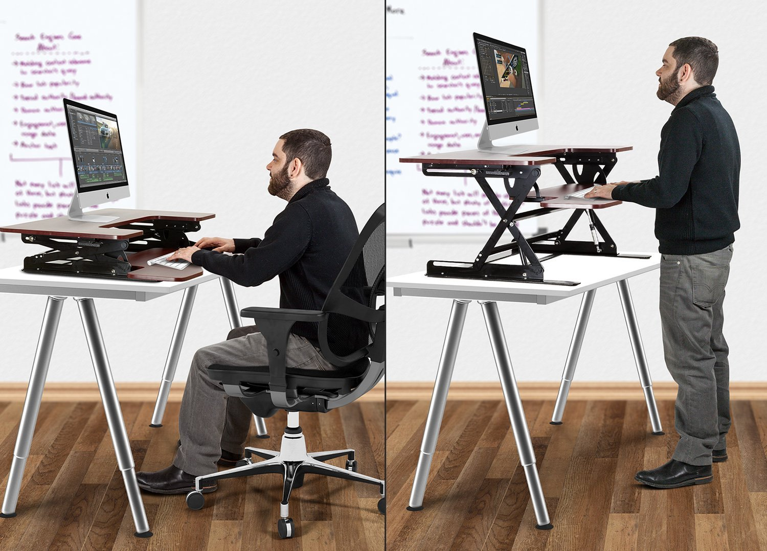Sit To Stand Desk Halter Ed 259 Preassembled Height Adjustable Desk Sit Stand Elevating Desktop With 2 Power Outlets And 2 Usb Charging Ports