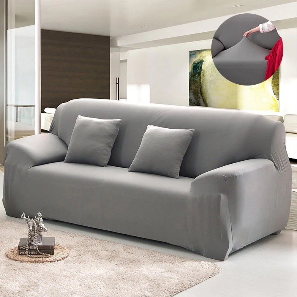 Grey Sofa Slipcover Eecoo Furniture Protector Full Stretch Lightweight Elastic Fabric Soft Multiple Colors And Sizes