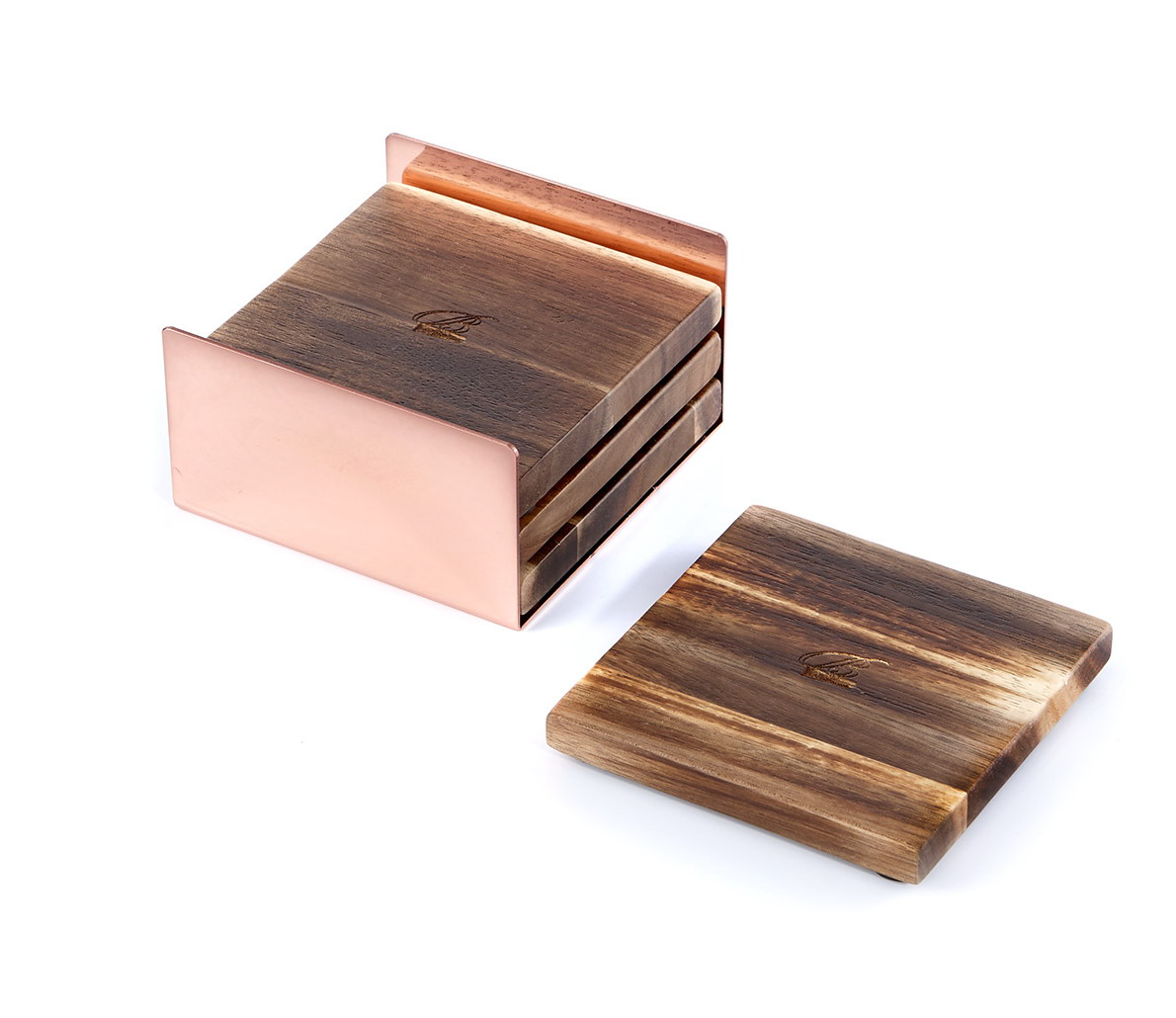 Wooden Coaster Holder Acacia Square Wooden Coasters For Drinks With A Metal Coaster Holder Set Of 4