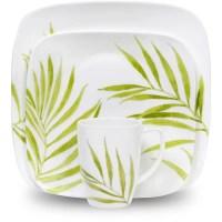 Corelle Squares Bamboo Leaf 16-Piece Dinnerware Set ...