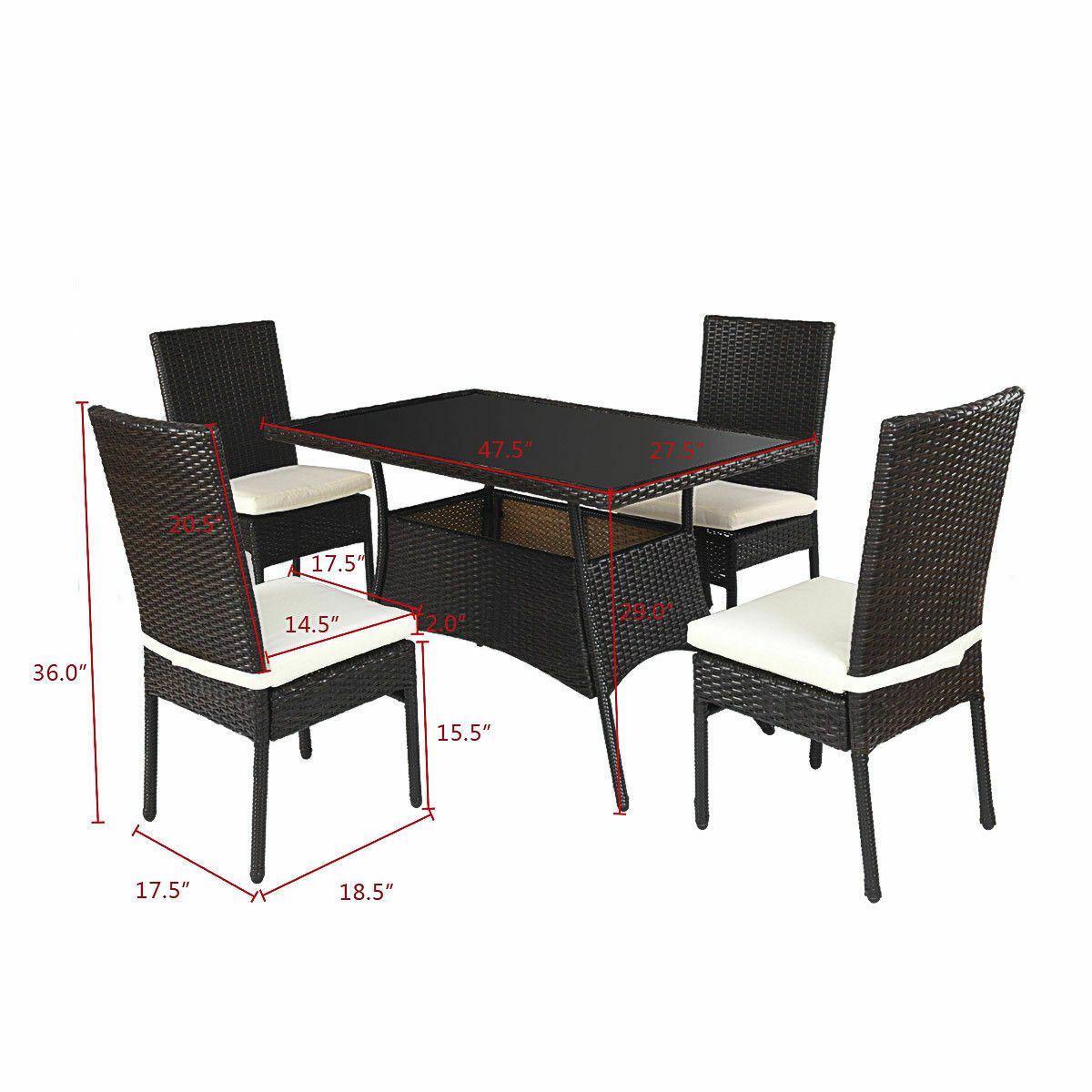 Outdoor Patio Furniture Dining Table Costway 5 Piece Outdoor Patio Furniture Rattan Dining Table Cushioned Chairs Set