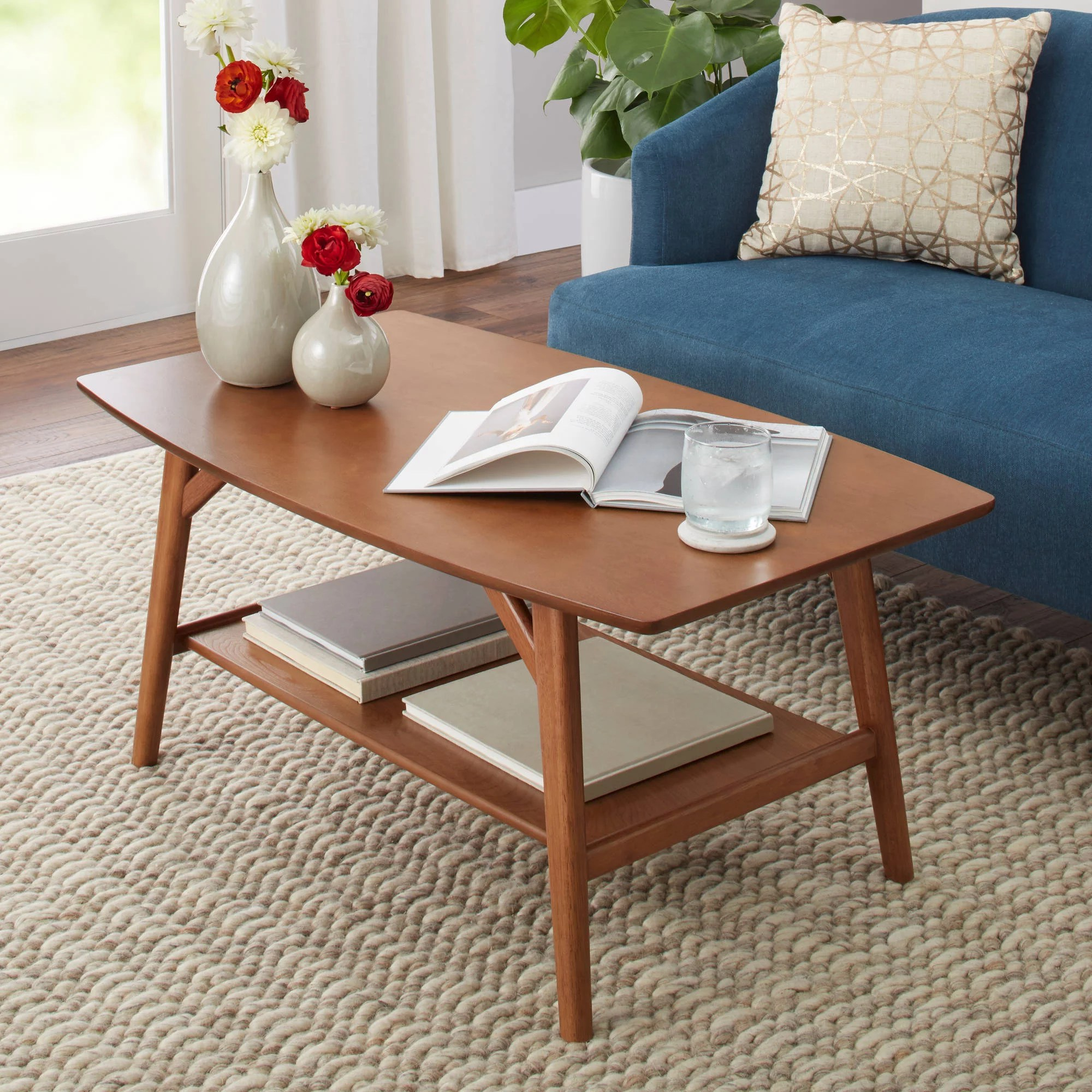Mid Century Better Homes Gardens Reed Mid Century Modern Coffee Table Pecan