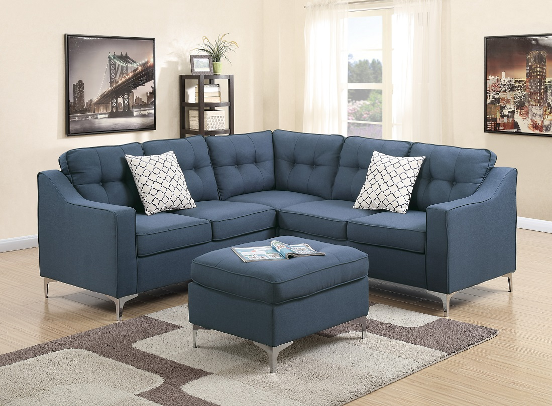 Sofa L Shape Dimensions Modern Modular 4pcs L Shaped Sectional Sofa Casual Navy Tufted Polyfiber Laf Raf One Arm Love Seat Corner Wedge Ottoman Living Room