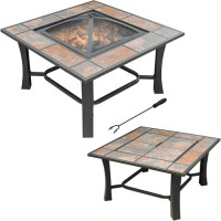 Axxonn 2-in-1 Malaga Square Tile Top Fire Pit/Coffee Table ...