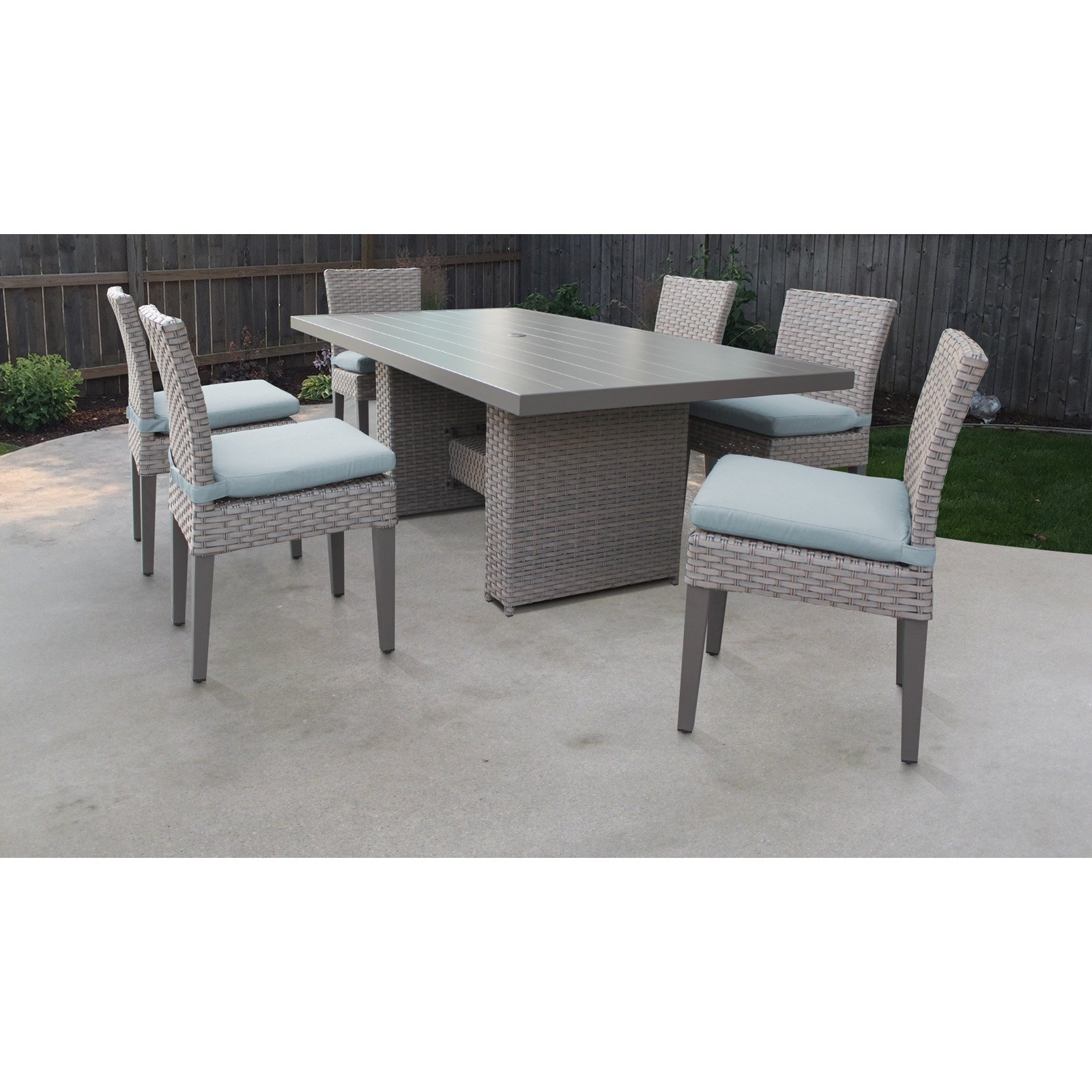 Tk Classics Florence Wicker 7 Piece Patio Dining Set With Armless Chairs