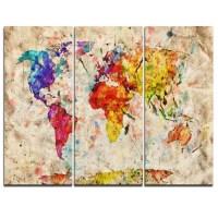 Design Art Vintage World Map Watercolor - 3 Piece Graphic ...