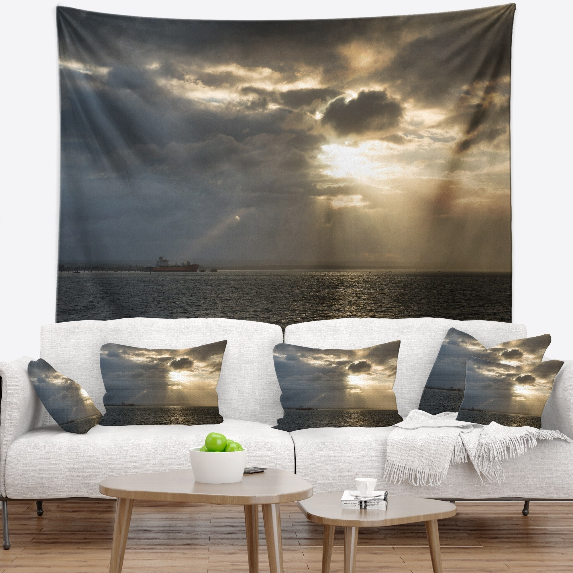 Wall Prints For Living Room Australia Design Art Designart Beautiful Cloudy Sunset At Australia Beach Seashore Wall Tapestry