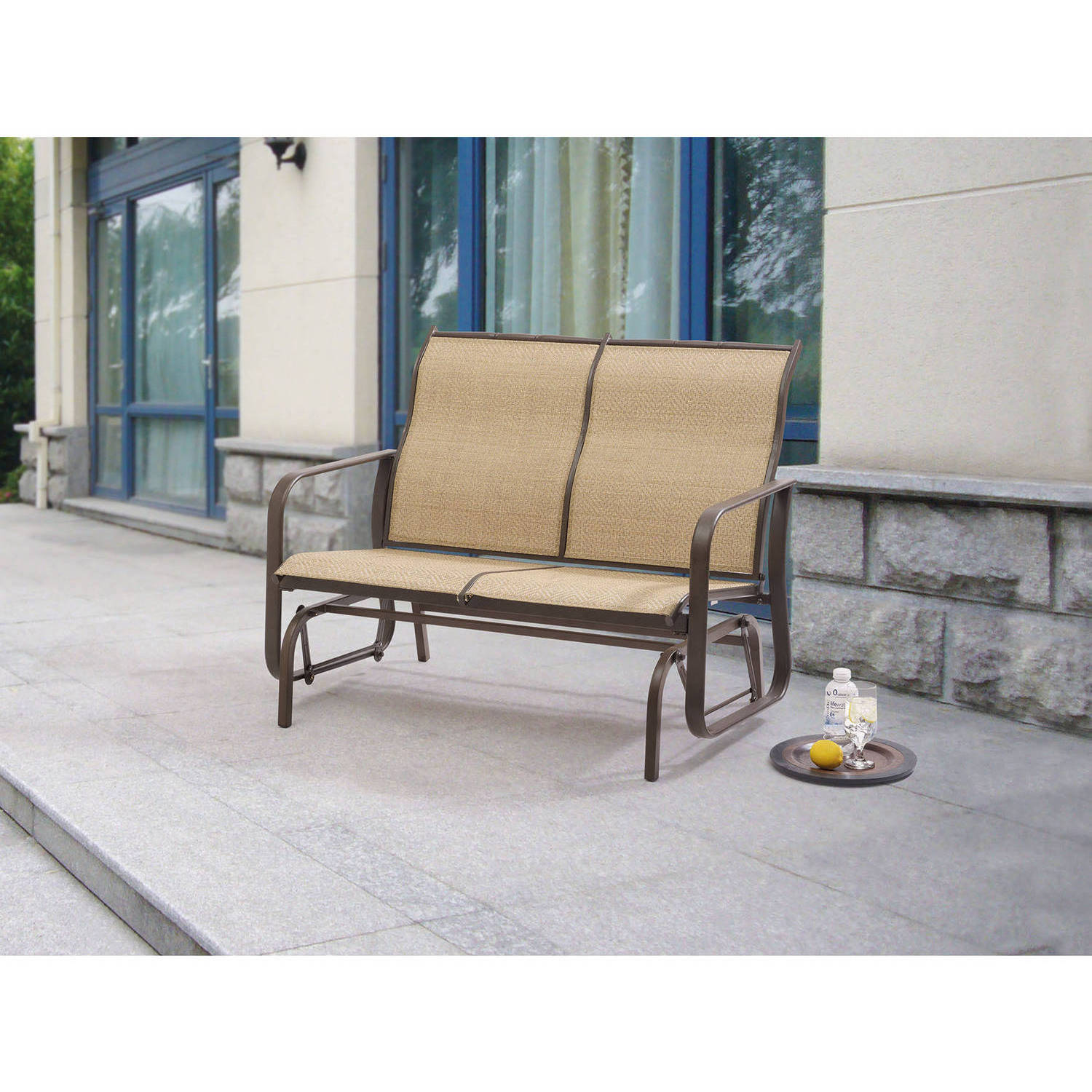 Garden Sofa Two Seater Mainstays Wesley Creek 2 Seat Outdoor Sling Seat Glider