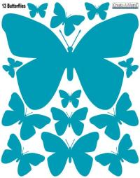 Butterfly Wall Decals- Teal Peel & Stick Wall Decor ...