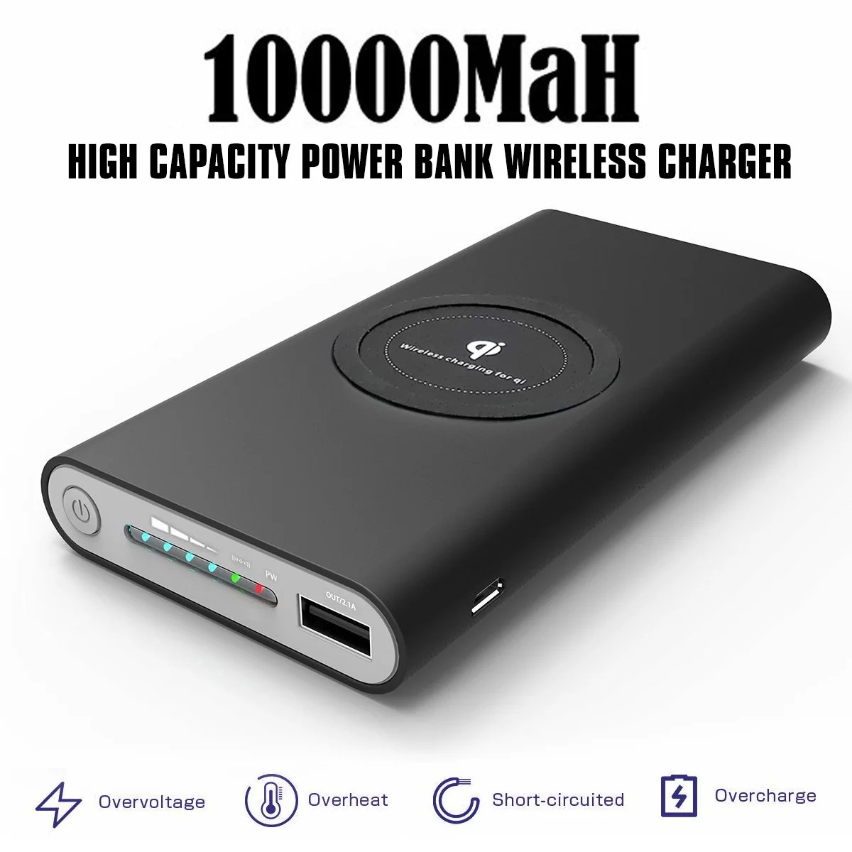 Wireless Battery Charger Qi Wireless Charger Qualcomm Qc3 Power Bank 10000mah Wireless Power Bank 3 Port Portable Charger External Battery Pack With Usb C In Out For