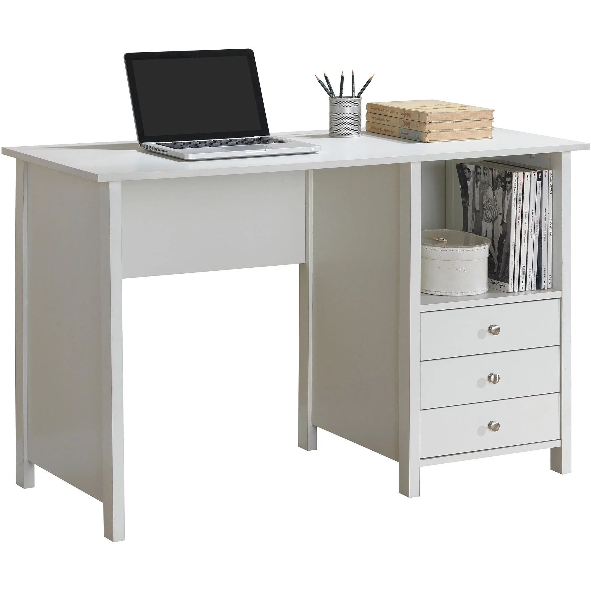 Desks With Drawers Details About Techni Mobili Contempo Desk With 3 Storage Drawers White