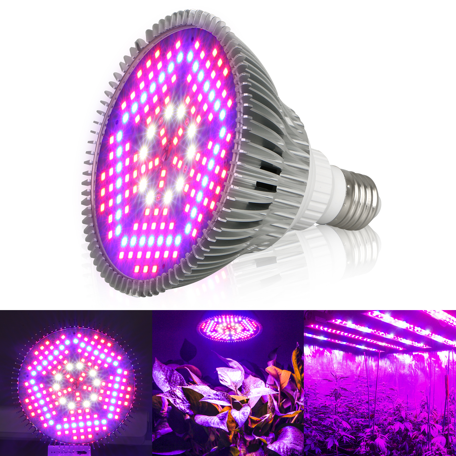 E27 Led 100w 100w E27 Led Grow Light Bulb Plant Lights Full Spectrum For Indoor Plants Hydroponics Flowers Tobacco Garden Greenhouse And Organic Soil