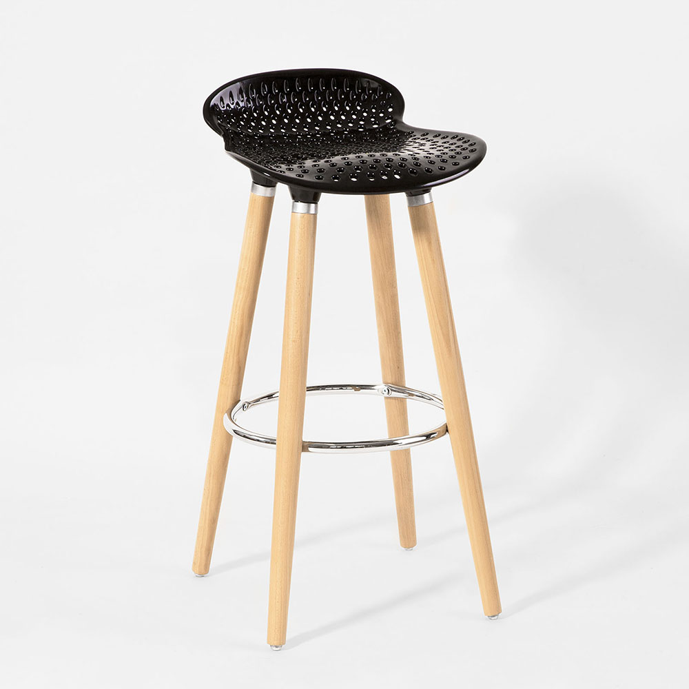 Sobuy Shop Sobuy Bar Stool Kitchen Breakfast Barstool Abs Plastic Seat Wooden Legs Fst35 Sch Black