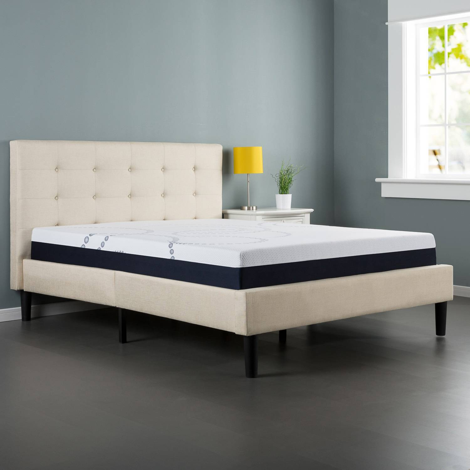 White Platform Bed Without Headboard Zinus Ibidun Upholstered Button Tufted Platform Bed With Wooden