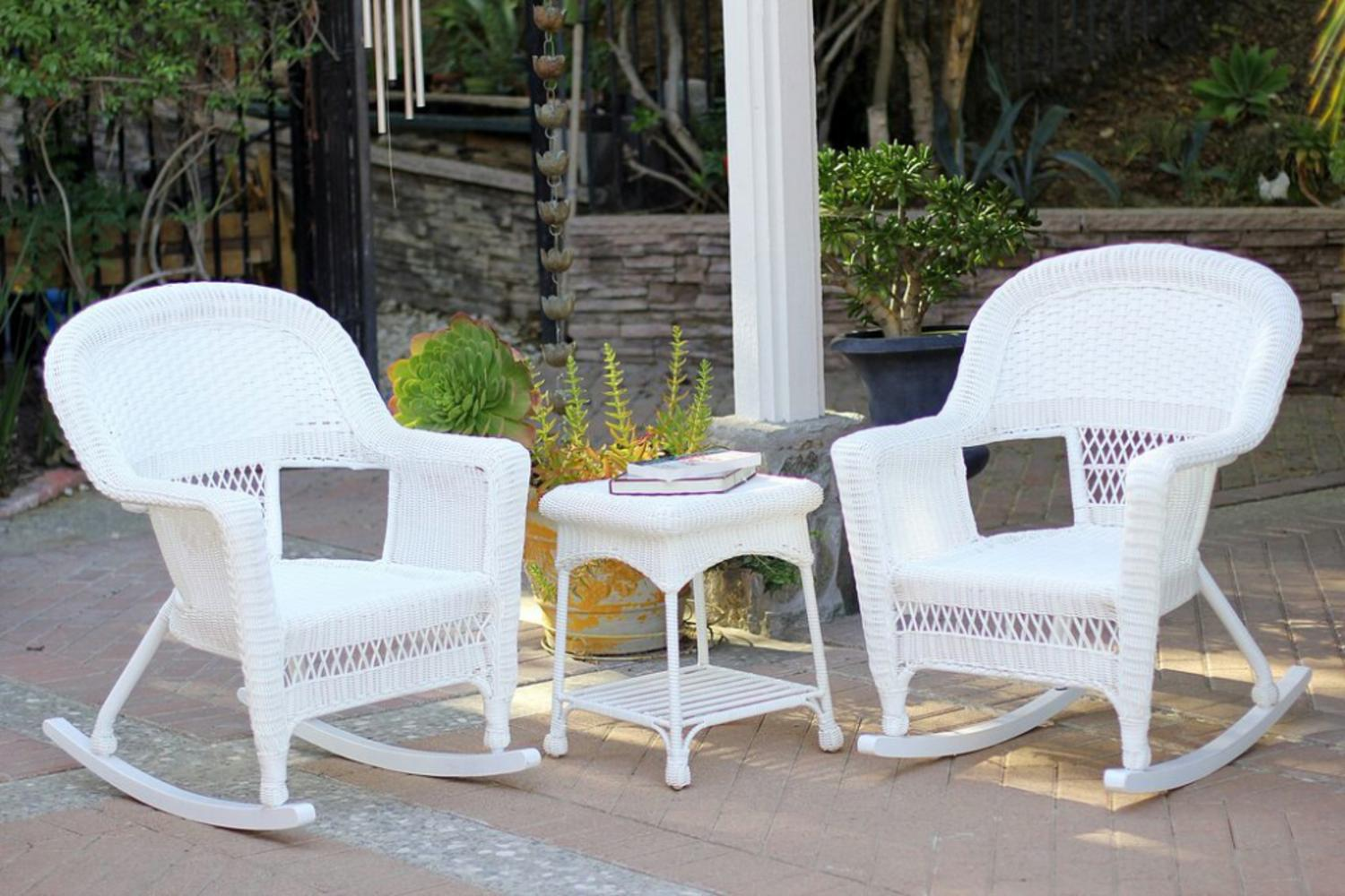 Patio Rocker Chairs 3 Piece Ariel White Resin Wicker Patio Rocker Chairs And Table Furniture Set