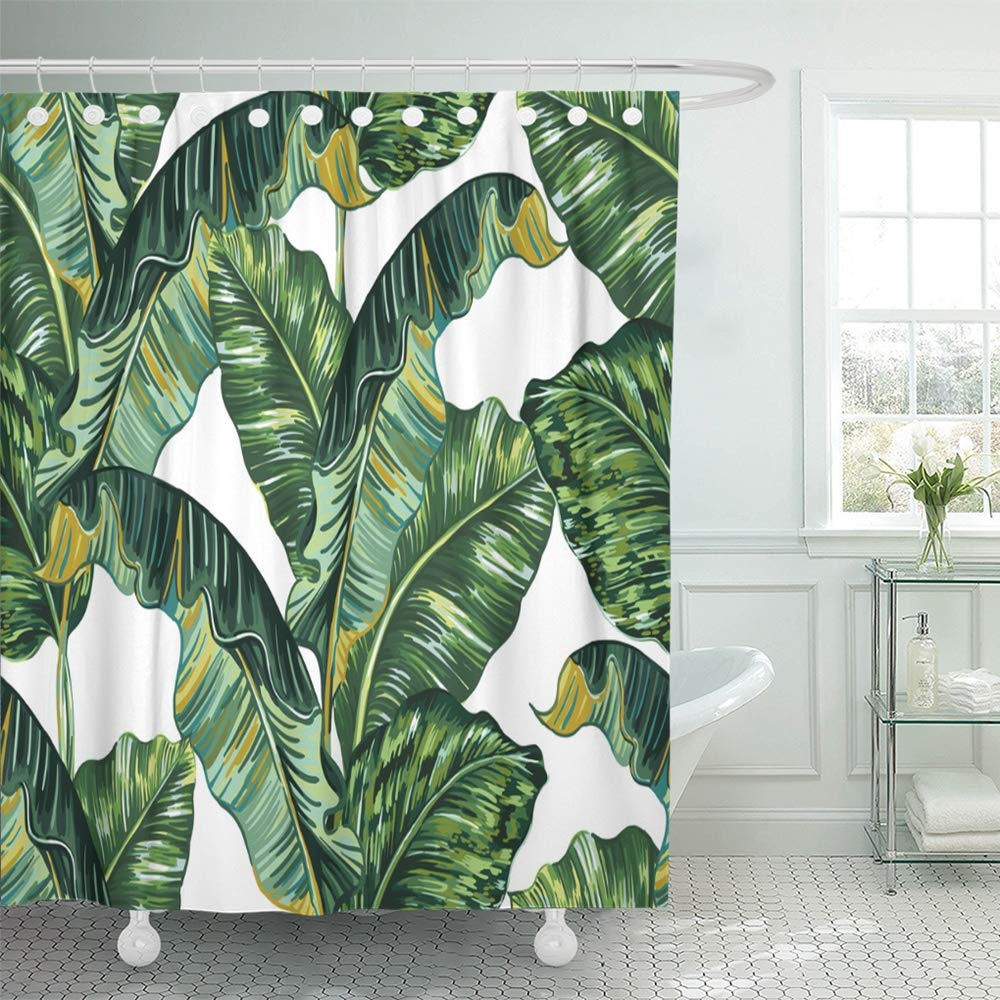 Banana Leaf Shower Curtain Pknmt Green Banana Tropical Palm Leaves Jungle Leaf Floral Pattern Tree Plant Vintage Bathroom Shower Curtain 66x72 Inch