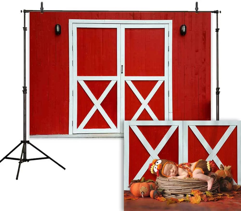 Allenjoy 7x5ft Red Barn Door Photography Backdrop Farm Rustic Friendly Farm Background Thanksgiving Harvest Photo Booth Fall Lunch Western Birthday Baby Shower Party Decoration Supplies Walmart Com Walmart Com
