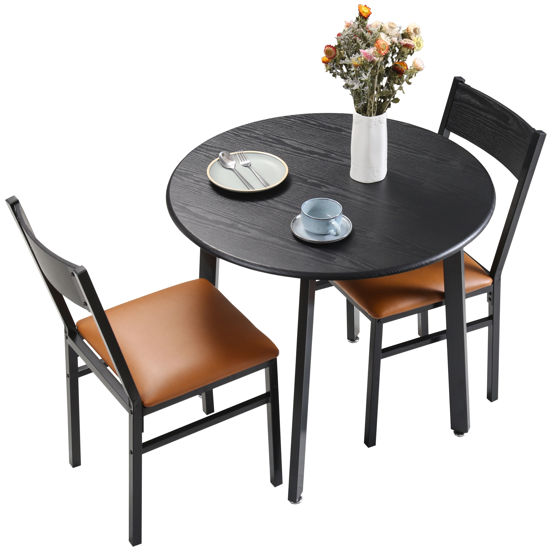 3 Piece Round Dining Table Set With Cushioned Chairs For Dining Room Kitchen Small Spaces Espresso And Brown Walmart Com Walmart Com