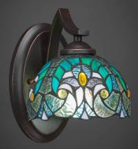 Wall Sconce with Turquoise Cypress Glass Shade - Walmart.com