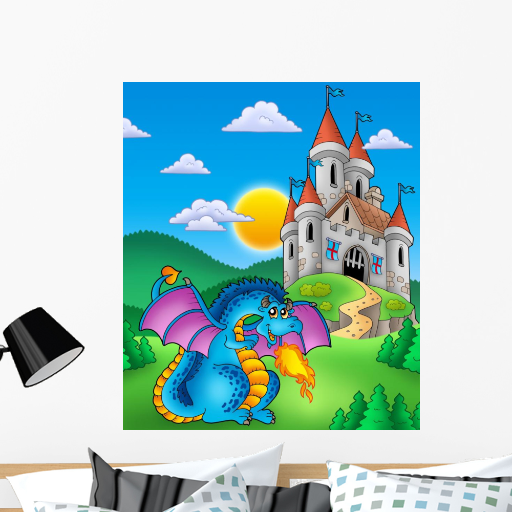 Big W Stickers Big Blue Dragon With Wall Decal Mural By Wallmonkeys Vinyl Peel Stick Graphic For Boys 24 In H X 20 In W