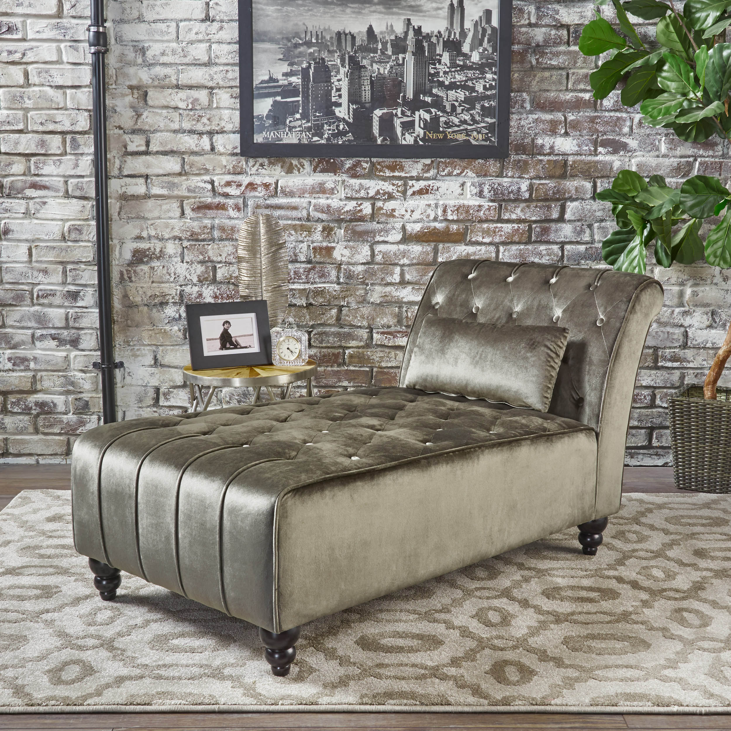 Noble House Furniture Noble House New Velvet Chaise Grey Walmart